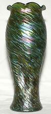 "Art glass Vase, Loetz, Rindskopf, Austria, iridescent, green, red spot,13"" c1900"