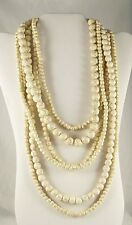 """Natural White Howlite Beaded 6 Stand Necklace & Earrings 18"""" TCW 1403.45"""