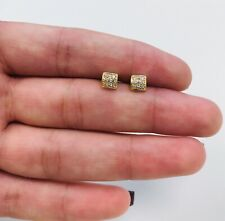 Nice Square Stud Men's Earrings Real 14K Yellow Gold, Aretes De Oro Para Hombre