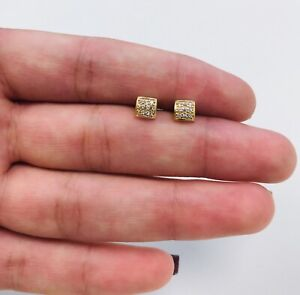 Nice Square Stud Men's Earrings Real 14K Yellow Gold, Aretes De Oro Para Hombre