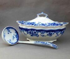 Large Antique Royal Doulton Flow Blue Tureen & Ladle ~ Sutherland Serving Dish