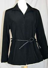 Andrew Mark New York Jacket Coat S black zipper leather tie belt