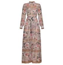Retro Women Long Flare Sleeve Floral Printed Belted Slim Fit Spring Dresses Hot