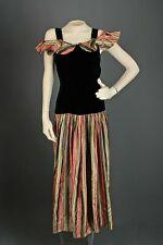 Vtg Women's 30s 40s Velvet Striped Drop Waist Gown Sz Xs 1930s 1940s Dress