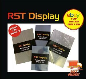 Acetate Film Sheets Transparent Clear 240mic OHP, Craft, Office Choice of sizes