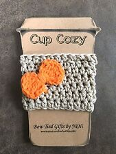 Coffee Cup Cozy-Handmade Crochet Coffee To Go Cup Mug Cozy Sleeve Tan/Orange Bow