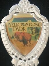 "Yellowstone Park Bison Old Faithful Souvenir Spoon 3"""