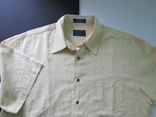 PENDLETON Silk Shirt LARGE Solid Yellow Luxury Original Short Sleeve Men's