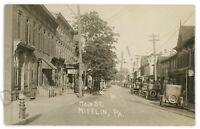 RPPC Old Cars on Main Street MIFFLIN PA Juniata County Real Photo Postcard