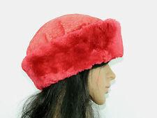RED SHEARED BEAVER FUR HAT BERET Sz.22.5'' (M)  n255