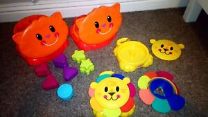 Playskool Pop Up Travel Toys Shape Sorter Cat Stacking Cups Lion x2 Twins