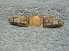 Vintage Watch Tips Inlay Blue Denim Lapis Sterling Silver Gold Filled Signed RB