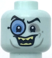 Lego New Light Aqua Minifigure Head Glasses with Blue Monocle Black Eyebrows