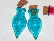 1 Glass Tear potion Bottle vial tube cork pendant necklace charm fairy Aqua Blue