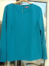 TEAL Trumpet Sleeve Top Size 10 TU Premium Collection