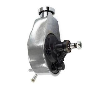 New SB & BB Chevy Chrome Saginaw Key Way Style Power Steering Pump  283 350 454