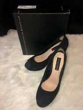 New Steven by Steve Madden Roulet Black Suede Wedges Size 9.5