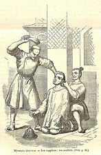CHINE CHINA SUPPLICE TORTURE SOUFFLETS GIFLES GRAVURE IMAGE 1875