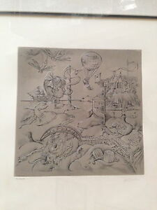 "Hans Bellmer etching ""Fantasyland"" original limited edition pencil signed 32/100"