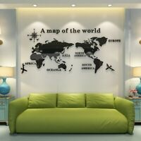 Creative 3D Acrylic World Map Wall Sticker Removable Decal Art Mural Home Decor