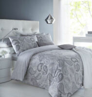 Paisley Grey Duvet Cover Pillowcase Set Reversible Bedding Single Double King
