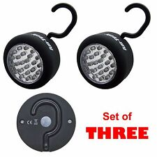 24 LED Light Torch Worklight Camping Magnet Hanging Hook Rubber Coated SET OF 3