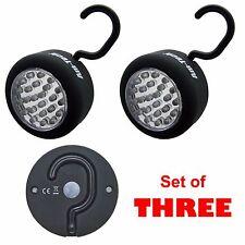 24 LED Light Torch Worklight Camping Magnet Hanging Hook Rubber Coated SET OF 3