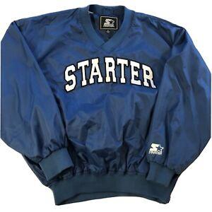 vtg STARTER Pullover Windbreaker Mens Large Blue Classic 90s
