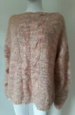 Vintage hand knit Mohair Wool Fuzzy Oversized cableknit Sweater jumper XL