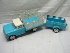 Vintage Nylint Ford Rand Flatbed Farm Truck Matching Trailer Light Blue Flat Bed