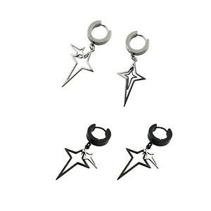 Surgical Stainless Steel Hollow Star Cross Hoop Huggie Drop Dangle Earrings Stud