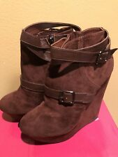DOLLHOUSE Brown Suede Platform Ankle Boots - Size 8.5
