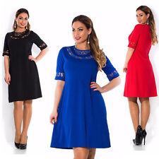 Übergröße L-6XL Damen Sommer Kleid Freizeit Party Cocktail Minikleid kurzärmlig