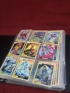 65 page lot 1991 - 93 near mint Marvel Masterpiece Insert Chase rare