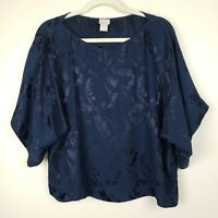 Chico's Loose Boxy Blouse Top Shirt Kimono Sleeves Floral Print Navy 2 Large 12