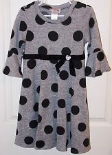 Youngland Dress Girls Black and Gray Polka Dot Knit  Knee Length Size 6