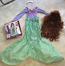 Child Little Mermaid Fancy Dress Up Costume w/bonus LONG RED WIG