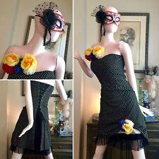 7 PC DAY OF DEAD Costume Lot Gothic LOLITA TRIPP Corset DRESS Sugar Skull MASK