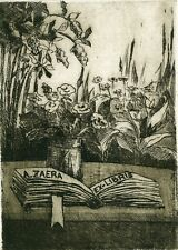 Ex libris Etching by Luisa Garcia- Muro, Spain