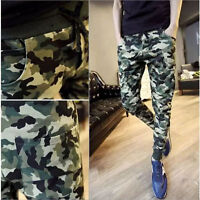 Fashion Men Camo Casual Pants Joggers Slim Fit Skinny Casual Pencil Trousers