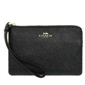 COACH Crossgrain Leather Corner Zip Wristlet - Black Micro Wallet Pebbled