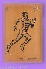 RUNNER WOOD MOUNTED RUBBER STAMP - VERY RARE - 1989