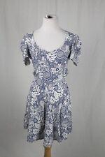 Reformation White & Blue Floral Print Open Back Mini Dress Size Medium