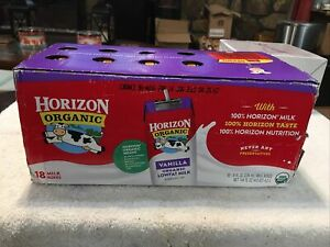 Horizon Organic Vanilla Milk 8.0 oz. carton (18 count) Exp 1/22