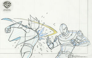Teen Titans Animated Series Original Production Drawing-Robin and Slade