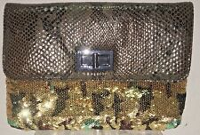 BIG BUDDHA Faux Snakeskin Brown & Gold Sequined Evening Purse Clutch Chain Strap