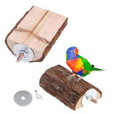 Pet Parrot Wooden Bird Cage Perch Standing Platform Long Tail Parrot Mouse Toy b