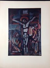 """1954 Vintage Full Color Art Plate """"CRUCIFIXION"""" by GEORGES ROUAULT Lithograph"""