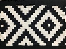 Boho Hippie Blk/White Aztec Design Heavy Woven Cotton Pillow Cover 25x16