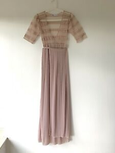 ZARA Vintage Style Wrap Maxi Dress Size M 12 Lace Wedding Party Holiday Occasion